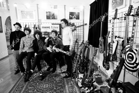 Picture shows the Moons at Gibson Guitar Studio in London on the 7Th of April 2011. The Moons are a British indie rock band who formed in Northampton in 2007 and comprise singer/guitarist/songwriter Andy Crofts, drummer Ben Gordelier, guitarist and backing vocalist James Edward Bagshaw, bassist Adam Leeds and keyboardist Tom Warmsley.The Moons currently have one studio album released on Acid Jazz Records called Life On Earth.