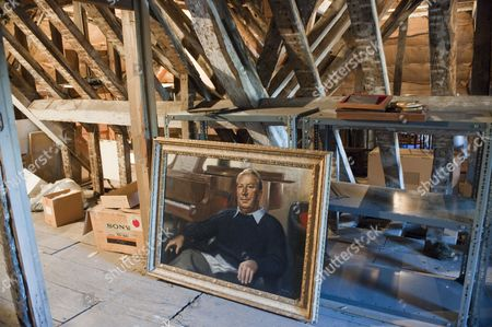 A portrait of Sir Edward Heath in the attic of his home at Arundells House in Salisbury.