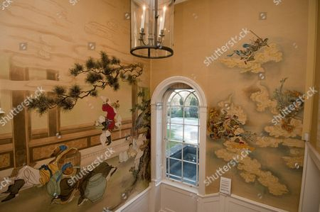 Chinese artwork on the walls at Arundells House in Salisbury, the former home of Sir Edward Heath.