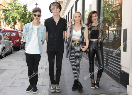 Only The Young - Charlie George, Michael Bromley, Betsy-Blue English and Parisa Tarjomani arrive at BBC Radio 1 Studio