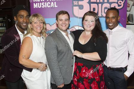 Stock Photo of Simon Webbe (Wolf), Alison Jiear (Mother Pig), Daniel Buckley (Q), Leanne Jones (Bee) and Taofique Folarin (Bar)