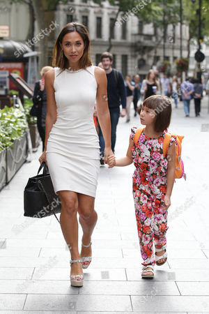 Myleene Klass and Ava Bailey Quinn arriving at Global House