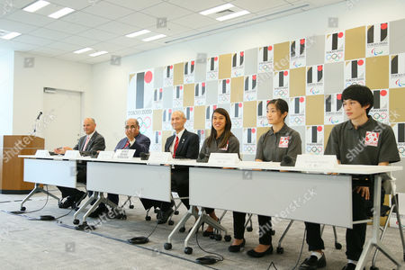 (L to R) Andrew Shelley, Narayana Ramachandran, Kazuya Kasahara, Nicol David, Satomi Watanabe, Ryunosuke Tsukue - World Squash Federation (WSF). Sports federations are interviewed as candidates wishing to be included in 2020 Olympic Games.