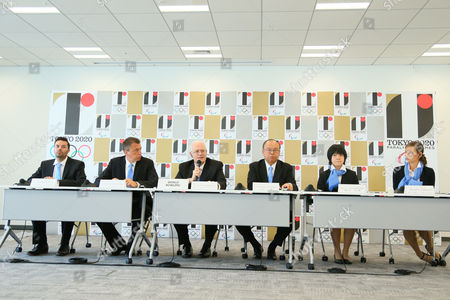 Stock Image of (L to R) Jason Belmonte, Lars Haue-Pedersen, Kevin Dornberger, Tsutomu Takebe, Shion Izumune, Megan Tidbury - World Bowling (WB). Sports federations are interviewed as candidates wishing to be included in 2020 Olympic Games.