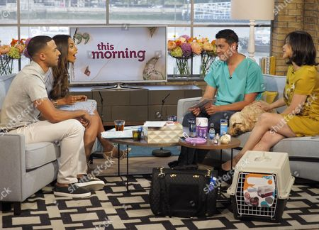 Marvin Humes and Rochelle Humes with Paul Manktelow and Miss Darcy, the Cockapoo