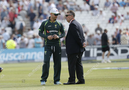 Australia captain Michael Clarke chats to chairman of selectors Rodney Marsh during the third day of the 4th Investec Ashes test played at Trent Bridge, Nottingham