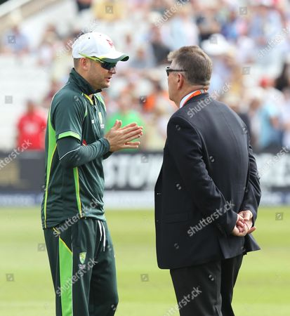 Michael Clarke the Australia captain chatting to head selector Rodney Marsh before play.