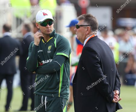 Stock Picture of Michael Clarke the Australia captain chatting to head selector Rodney Marsh before play.