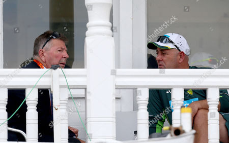 Rodney Marsh the Australia selector with coach Darren Lehmann after the game.