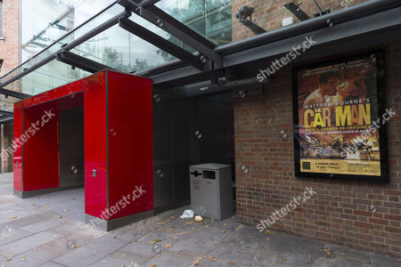 Stock Picture of Poster for The Car Man's starring Jonathan Ollivier outside Sadler's Wells Theatre