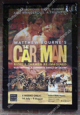 Poster for The Car Man's starring Jonathan Ollivier outside Sadler's Wells Theatre