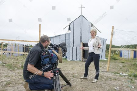 Presenter Sally Magnusson and crew outside makeshift church