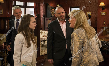 Leanne explains to Liz McDonald [BEVERLEY CALLARD] how Dan [ANDREW PAUL] used to be a client of hers when she was on the game and he once beat her up. Horrified, Liz storms round to see Dan, who's enjoying a celebratory drink after a meeting. In front of his boss and daughter, she accuses him of beating up prostitutes. Lucy [SAMMY OLIVER] looks at her Dad, appalled. Telling him she never wants to clap eyes on him again, Liz throws Dan out.