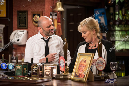 Liz McDonald [BEVERLEY CALLARD] wonders why Leanne was so hostile towards Dan [ANDREW PAUL] at the funeral. Can Dan come up with a plausible explanation?