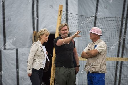 Stock Photo of Presenter Sally Magnusson and crew outside makeshift church