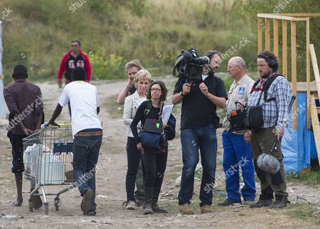 Presenter Sally Magnusson and crew