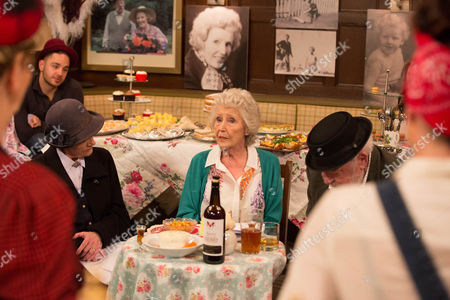 With Betty Eagleton's [PAULA TILBROOK] nose still out of joint over her lack of reception, Victoria knows she has her work cut out to get back on Betty's good side. Sandy suggests they have a party for her to bring her round. Betty arrives and is speechless. It is a full on fancy dress party to celebrate Betty's return with everyone dressed up. But soon, it's Betty's friends that are speechless by her shock announcement