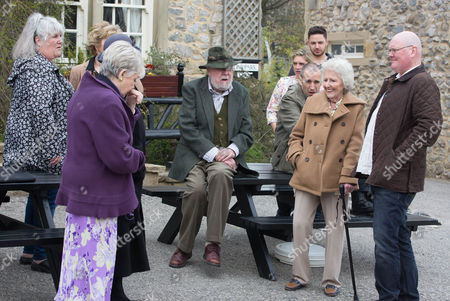 Stock Image of Everyone heads outside the pub as Betty [PAULA TILBROOK] returns to say her goodbyes. In true Betty style, she bids farewell to the village, leaving her friends and family gob smacked as she is driven away in an enormous limousine.