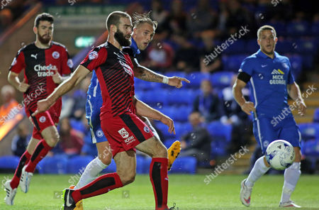 Jack Collison of Peterborough United scores but his effort is ruled out for offside