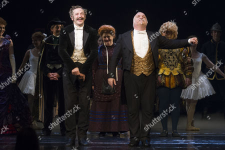 Stock Picture of Martin Ball (Monsieur Andre) and Andy Hockley (Monsieur Firmin) during the curtain call