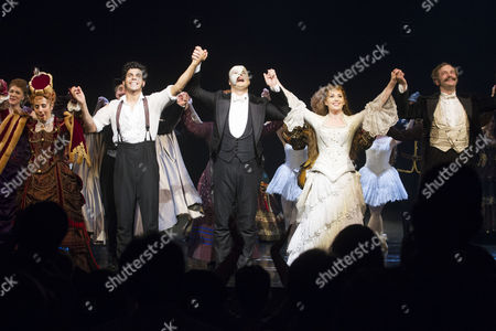 Lara Martins (Carlotta Giudicelli), Liam Tamne (Raoul), Geronimo Rauch (The Phantom of the Opera), Harriet Jones (Christine Daae) and Martin Ball (Andre) during the curtain call