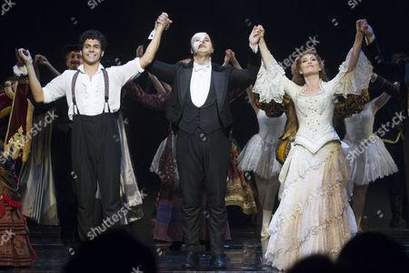 Liam Tamne (Raoul), Geronimo Rauch (The Phantom of the Opera) and Harriet Jones (Christine Daae) during the curtain call