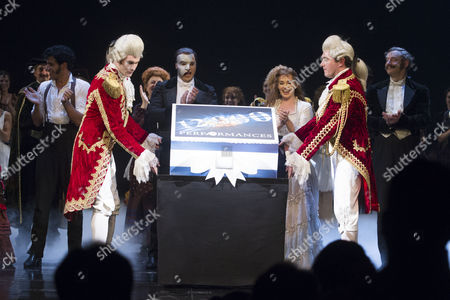 Stock Picture of Geronimo Rauch (The Phantom of the Opera) and Harriet Jones (Christine Daae) during the curtain call