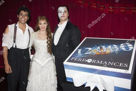 Stock Image of Liam Tamne (Raoul), Harriet Jones (Christine Daae) and Geronimo Rauch (The Phantom of the Opera) backstage
