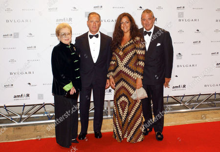 Mathilde Krim, Francesco Trapani managing director of Bulgari and Angela Missoni attending the Amfar party.