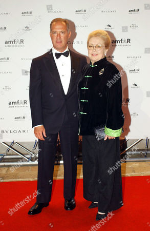 Francesco Trapani managing director of Bulgari and Mathilde Krim attending the Amfar party.