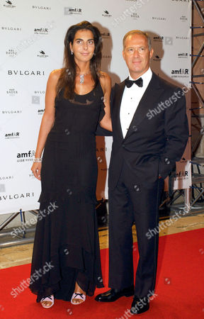 Francesco Trapani managing director of Bulgari and the wife Lorenza attending the Amfar Party.