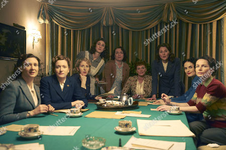 L-R:  Frances Grey as Erica, Claire Price as Miriam, Fenella Woolgar as Alison, Daisy Badger as Claire, Claire Rushbrook as Pat, Samantha Bond as Frances, Ruth Gemmell as Sarah, Leanne Best as Teresa and Clare Calbraith as Steph.