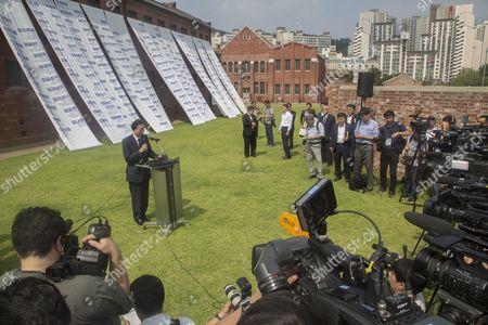 Japan's former Prime Minister Yukio Hatoyama speaks