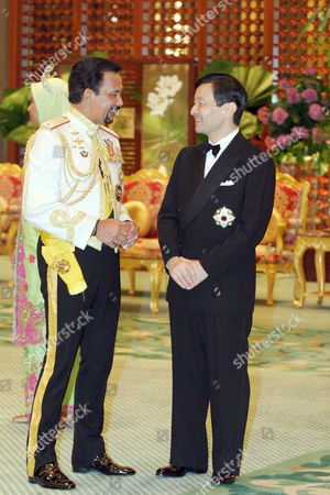 The groom's father Sultan Hassan Al Bolkiah Muizzadin Waddaulah and Crown Prince Naruhito