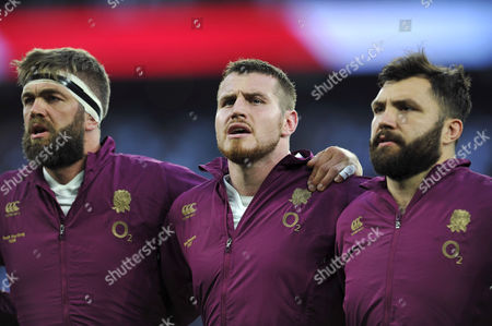 Geoff Parling, Ben Morgan and Alex Corbisiero of England sing the national anthem