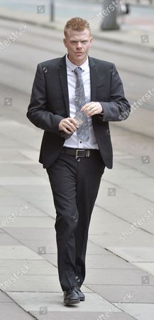 Stock Picture of Jordan Higgins Son Of Late Snooker Player Alex Higgins Appears At Manchester Minshull St. Crown Court Charged With Robbery. (pleads Not Guilty. Next Hearing Oct 23rd With Trial Start Date March 25th 2015).  7/8/14.