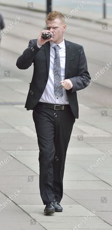 Stock Image of Jordan Higgins Son Of Late Snooker Player Alex Higgins Appears At Manchester Minshull St. Crown Court Charged With Robbery. (pleads Not Guilty. Next Hearing Oct 23rd With Trial Start Date March 25th 2015).  7/8/14.