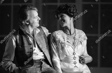 """Anthony Hopkins & Samantha Eggar appearing in """"The Lonely Road"""" at Guildfords Yvonne Arnaud Theatre, and Londons Old Vic theatre."""