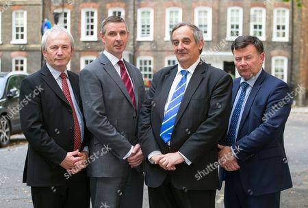 (L-R) NFU Cymru President Stephen James, Ulster Farmers Union President Ian Marshall, NFU England & Wales President Meurig Raymond MBE and NFU Scotland President Allan Bowie.