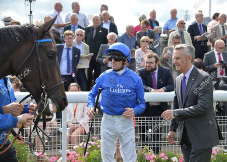 Jim Bolger, trainer and Kevin Manning, jockey of Pleascach before he wins The Darley Yorkshire Oaks on Ladies' Day 