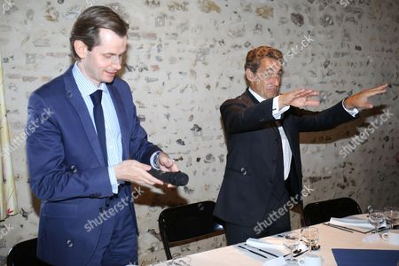 French Les Republicains deputy Guillaume Larrive with French former President and head of Les Republicains right-wing opposition party Nicolas Sarkozy during lunch at la Metairie Gourmande restaurant with Les Republicains mayors of the first circonscription in Yonne Region