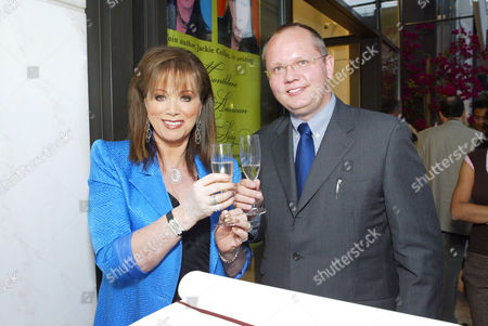 Jackie Collins and CEO and President of Montblanc North America, Jan Patrick Schmitz. Jackie Collins begins chapter four of Montblanc's Great American Love Story. The event was also the introduction of Montblanc's $150,000 pen 'The Boheme Royal'