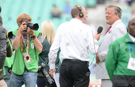 Stephen Fry is interviewed by Jonathan Agnew before the toss during the first day of the 5th Investec Ashes Test match between England and Australia played at the Kia Oval, London on August 20th 2015