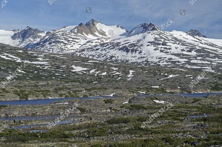 Stock Picture of Mountains on the White Pass and Yukon Route between Skagway, Alaska, USA, and Bennett, British Columbia, Canada