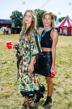 Francesca Hodge and Laura Pradelska in the Virgin Media Louder Lounge at V Festival, Chelmsford