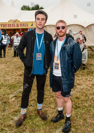 Tom Hughes and Adam Gillen in the Virgin Media Louder Lounge at V Festival, Chelmsford