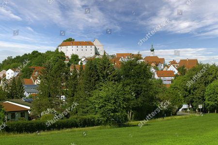 Townscape with castle and church of St. Barbara, Lupburg, Upper Palatinate, Bavaria, Germany