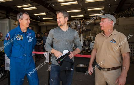 Stock Picture of NASA Astronaut Drew Feustel and Actor Matt Damon