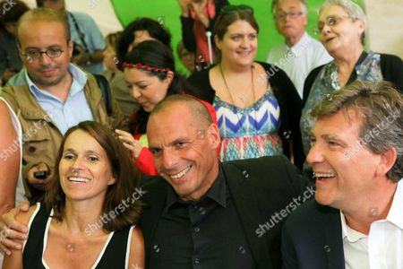 Former Minister for Culture and Communication, Aurelie Filippetti, and her companion Former French Economy Minister Arnaud Montebourg, with Former Greek Finance Minister Yanis Varoufakis