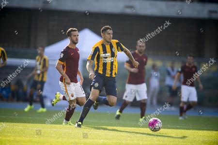 "Miralem Pjanic (Roma), Leandro Greco (Hellas) - Football / Soccer : Italian ""Serie A"" match between Hellas Verona 1-1 AS Roma at Stadio Marc'Antonio Bentegodi in Verona, Italy."